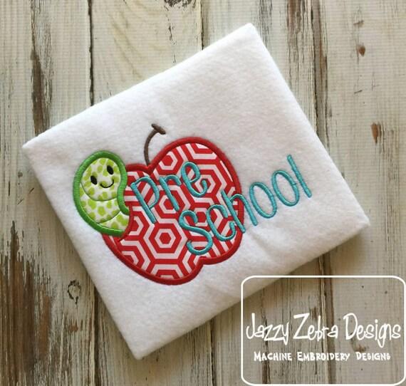 Pre school apple with worm appliqué embroidery design - apple appliqué design - pre school appliqué design - worm appliqué design - school