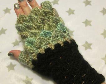 Dragon Scale Fingerless Crochet Gloves - Green Meadows - Green , Blue, Grey