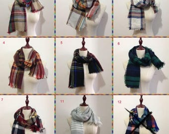 Buy 2 Get 1 Free, Childs Blanket Scarf, Kids Scarf, Girls Scarf, Boys Scarf, Plaid Blanket Scarf, Winter Scarf, Gift For Kids, Long Scarf