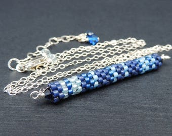 Blue Skinny Bar Necklace, Bar Necklace, Layering Necklace, Beaded Necklace, Seed Bead Necklace, Horizontal Bar, Gift For Women, Jewelry