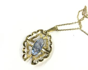 Vintage Gold blue glass pendant and chain