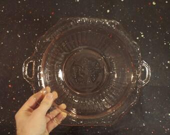Pink Mayfair Open Rose Handled Bowl Vintage Floral Glass