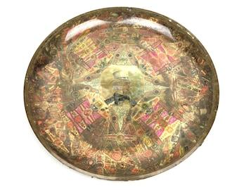 Large Antique Cigar Label Dish 1910s Decoupage Cigar Label Dish Original Folk Art Cigar Label Bowl Dish