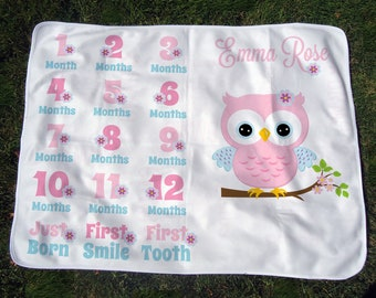 Personalized Owl Monthly Baby Blanket - Girls' Owl Growth Chart Blanket - Baby Month Blanket with Owl - Baby Photo Prop - Baby Shower Gift