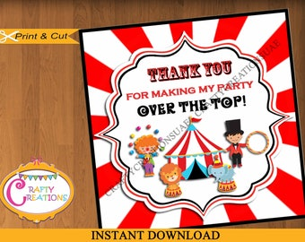 INSTANT DOWNLOAD - Circus - Carnival - Favor Tags - Sticker - Party Tags - Thank You Tags - Gift Tags - Birthday - Printable - CraftyUAE