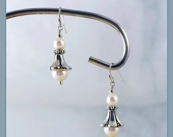 Silver and Pearls Vintage Earrings