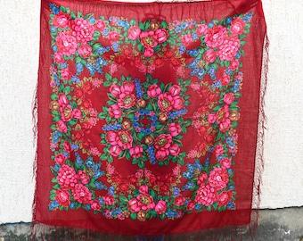 Vintage red large shawl, Ukrainian shawl, Russian Scarf shawl, red floral scarf, head scarf, beautiful Shawl
