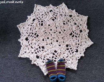 Whisperwind Rug, Doily Inspired Rug, Lacy Rug, Cream Colored Rug, Crocheted Rug, Beige Colored Rug, Off White Colored Rug, Handmade Rug