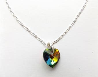 "Beautiful Swarovski Vitrail Medium 14mm Heart 925 Silver 20"" Chain Necklace."
