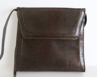 Vintage 80s Brown Structured Purse New With Tags Reptile Embossed Cross Body Shoulder Bag Boxy Style Made in USA
