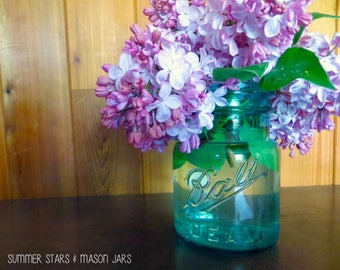 Lilacs in Mason Jar Print - Landscape Photography