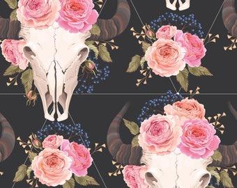 Boho Animal Skull Fabric