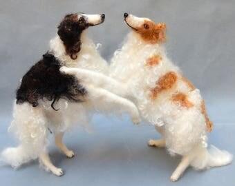 Borzoi custom dog replica needle felted dog miniature custom felted dog portrait poseable miniature dog loss memorial dog lover Sighthound