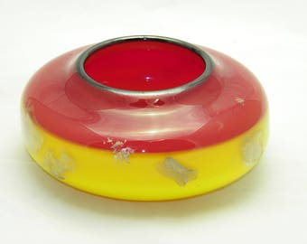 Handblown Navajo Style Red and Yellow Encalmo bowl with silver leaf