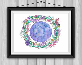 PRINT Moon with Floral Wreath