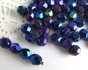 Czech Glass Beads Faceted 6mm - IRIS BLUE - 50pcs