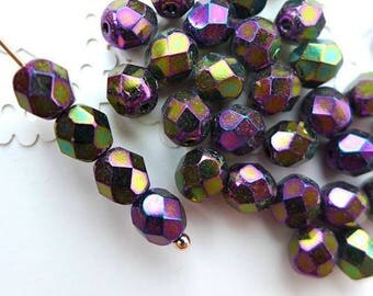 Czech Glass Beads Faceted 6mm - IRIS PURPLE- 50pcs