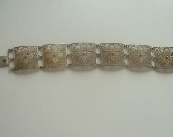 Vintage filigree silver panel bracelet