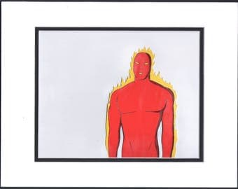 Fantastic Four Human Torch Original Production cel and drawing 1994 Marvel