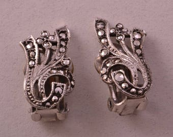Silver Art Deco Clip On Earrings With Marcasite (920y21)