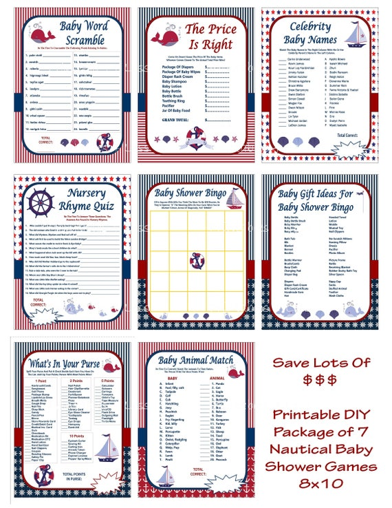 Nautical Baby Shower Game, Printable Nautical Game, Nautical Shower Game,  DIY Nautical Game, Anchor Baby Shower Game  Printables 4 Less 0062