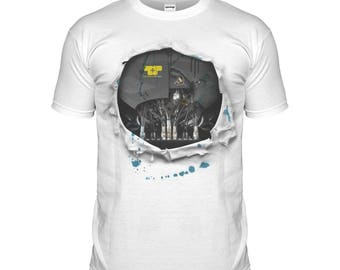 Cyborg Carbon Damage T-shirt Robot Costume Ripped Effect Android Movie T Shirt Tshirt