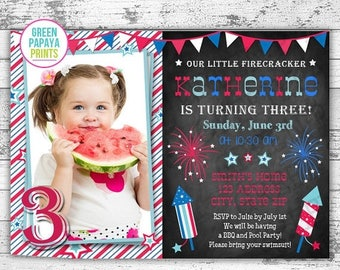 25% OFF July 4th Birthday Invitation - Printable Digital File - Fourth of July - Fireworks - Stars - Patriotic - Our Little Firework