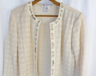 vintage ST JOHN brass grommet and silk ribbon detail cropped  cardigan jacket/ houndstooth ecru knit pattern with gold threads: size US 8