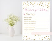 Wishes for baby Printable, Glitter confetti baby shower downloadable file, Gold glitter and pink printable, DIY, INSTANT DOWNLOAD, 008