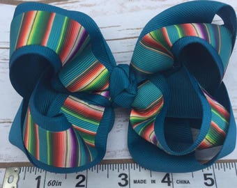 Serape hair bow- Teal
