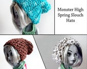 Monster High Hat Patterns, crochet doll clothes pattern, doll crochet pattern, doll hat patterns, beginner crochet pattern, slouchy doll hat