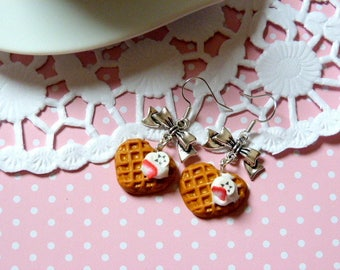 Earrings delicious waffles whipped Strawberry and banana