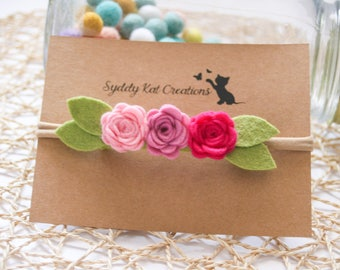Mini Rose Crown, Felt Flower Crown, Baby Headband, Rose Headband, Girls Headband, Felt Flower Headband