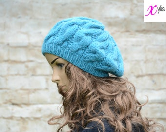 Turquoise Cable Knitted Beret Womens Slouchy Hat Adult Size Hand Knitted Hat Chunky Knit Hat Alpaca Wool Acrylic
