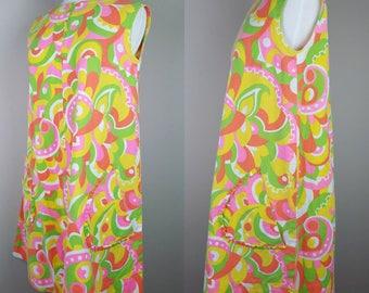 1960s vintage A-Line Shift dress yellow pink green orange sleeveless go go