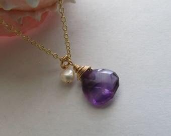 Amethyst Necklace,Gesmtone Necklace,Pearl Necklace,Gemstone Necklace,Gift,Gold Necklace,Purple Necklace,Purple Gemstone,Freshwater Pearl