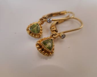 Vintage Sterling Silver MNSN Green Peridot Earrings with Gold Overlay