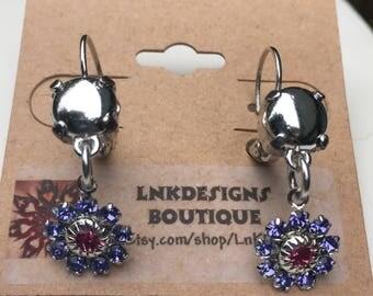 Purple crystal flower Lever Back Drop Earrings *Stunning!*