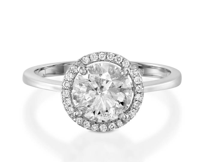 2 ct Moissanite ring- Moissanite halo Engagement Ring-White Gold Ring-Engagement Ring-promise ring-halo diamond engagement ring- For her