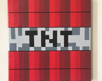 "Minecraft Inspired ""TNT"" Wall Decor Hand Painted"