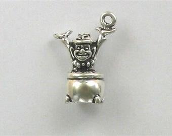 Sterling Silver 3-D Leprechaun & Pot O' Gold Charm