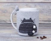 Cat lover gift, Knitted coffee mug cozy, Party favor, Mug sweater, Grey kitten, Tea sleeve,  Cup warmer, Coffee cosy, Hot drink cozy