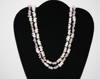 Large Chunky Shell Necklace 22 White and Purple with gold beads