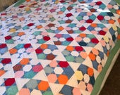 Patchwork Quilt Handmade 1920s 30s/Cotton Fabric Blocks/Farmhouse/Country/Cabin/Intricate Hand Quilting/Star Diamond Pattern/72 x 80/SALE