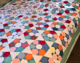 Handmade Patchwork Quilt 1920s 30s/Colorful Fabric Blocks/Farmhouse/Country/Cabin/Intricate Hand Quilting/Star Diamond Pattern/72 x 80