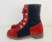 60s Lace Up Ankle Boots Suede Leather Two Tone Sherpa Lined Womens Size 10 M Mens 8 42