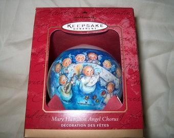 Vintage Hallmark Ornament, Mary Hamilton Angel Chorus, Glass, 2001, Christmas