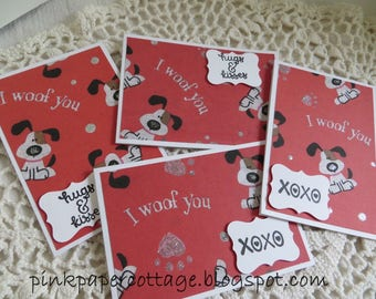 "Valentine's Day set of 4 ""I Woof You"" cards, reds, gray, black dogs, glitter, 3-1/2 x 5"", w/ coordinating envelopes."