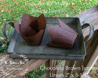"2"" x 6-1/4"" Large  Chocolate Brown Tulip Cupcake Baking Cups • Liners  • Cupcakes • Jumbo Muffin Liners • Grease Proof Paper • Holds 3 Ozs."