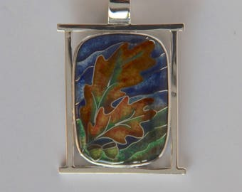 Oak leaves and acorns cloisonné enamel pendant